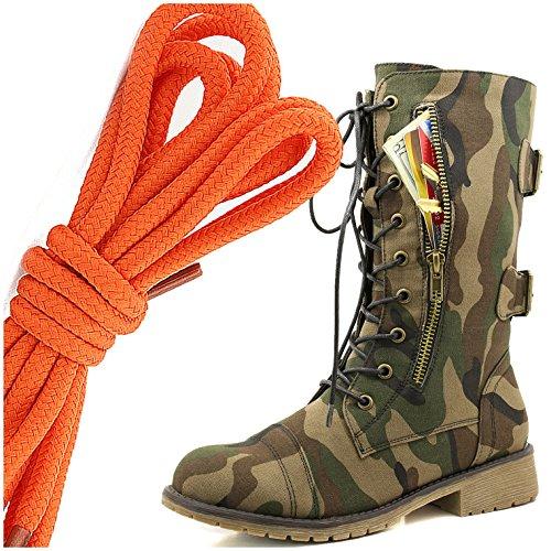 Dailyshoes Womens Militaire Lace-up Gesp Gevechtslaarzen Medio-kniehoge Exclusieve Creditcardzak, Oranje Klassiek Leger