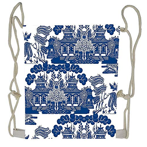 Blue Willow Chinoiserie Porcelain Inspiration Drawstring Bag Knit Beach Gym Backpack Outdoor Travel Shopping Sack Bags for Woman Unisex