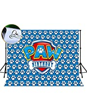 LYLYCTY 7x5ft Birthday Backdrop for Kids Paw Background Paw Patrol Themed Photography Backgrounds Party Supplies Blue Backdrops and Three Dimensional White Paw Prints Photo Booth Pops MLYWQ01