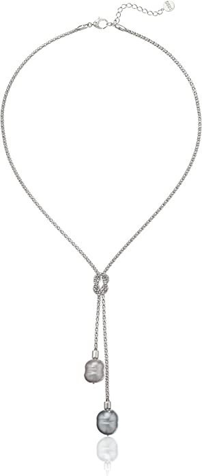 Sterling Silver Love Knot Pendant with Freshwater Cultured Pearl