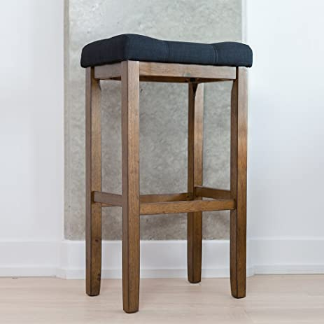 Wood Kitchen Pub-Height Bar Stool - Backless Upholstered Saddle Seat 29 Inch - : backless stool with saddle seat - islam-shia.org