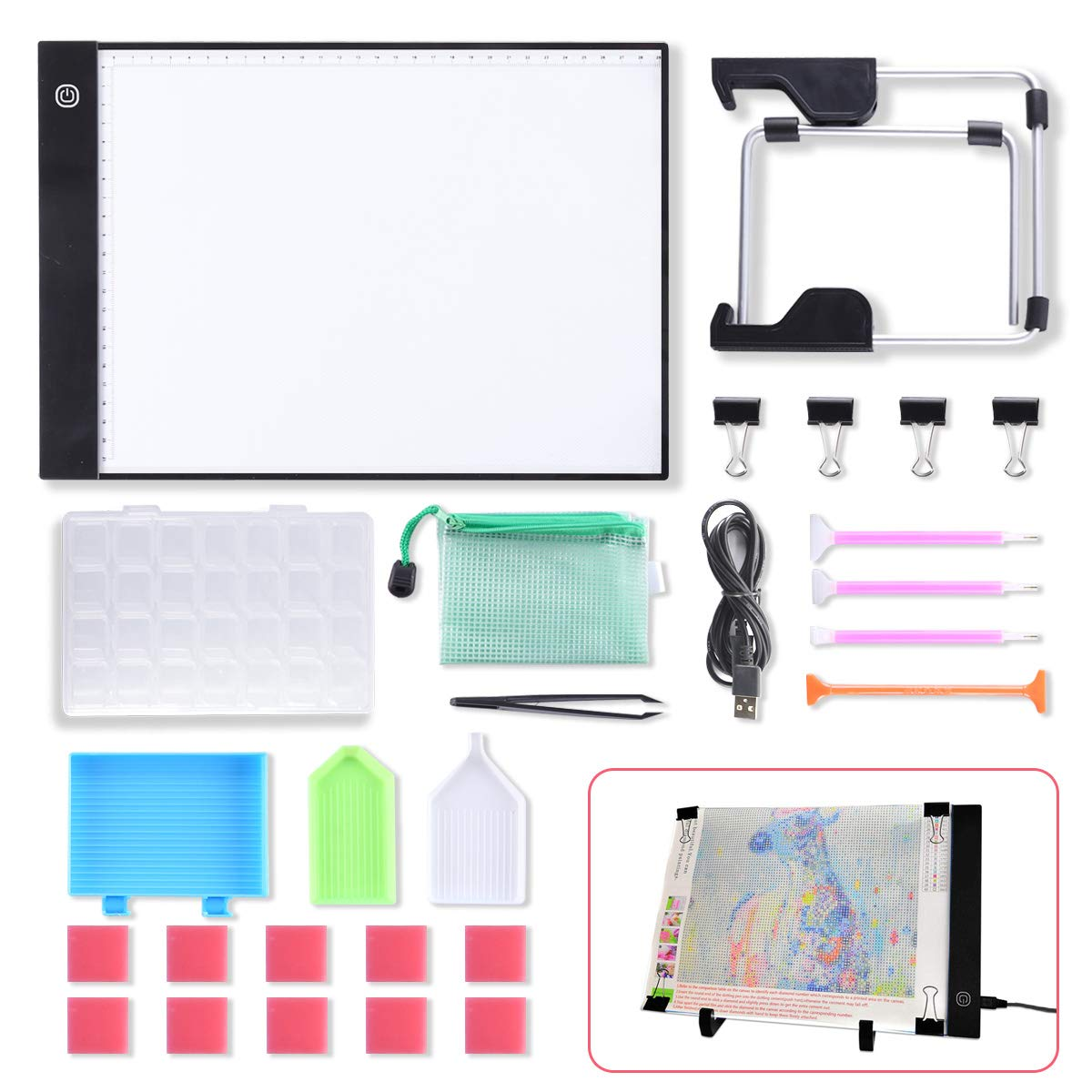 A4 LED Light Pad Light Board Tracing Light Box LED Light Tablet, Dimmable Light Board Kit w/Diamond Painting Tools, Stand Holder and Clips, Apply to DIY 5D Diamond Painting Sketching Drawing