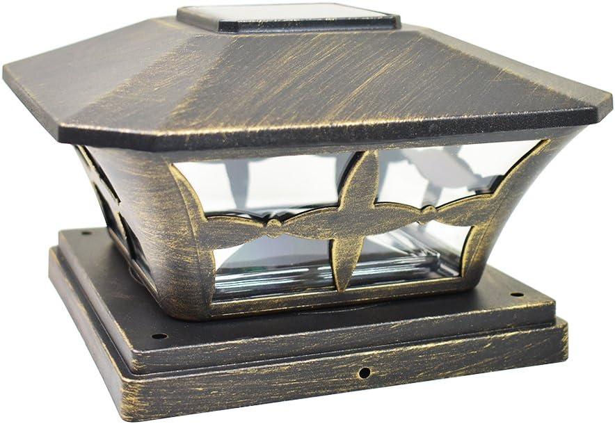 iGlow 1 Pack Vintage Bronze Garden 6 x 6 Solar SMD LED Post Deck Cap Square Fence Light Landscape Lamp PVC Vinyl Wood