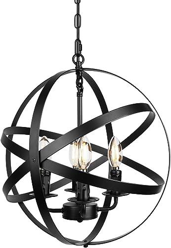 Farmhouse Industrial Chandelier Black Pendant Lighting Globe Hanging Light