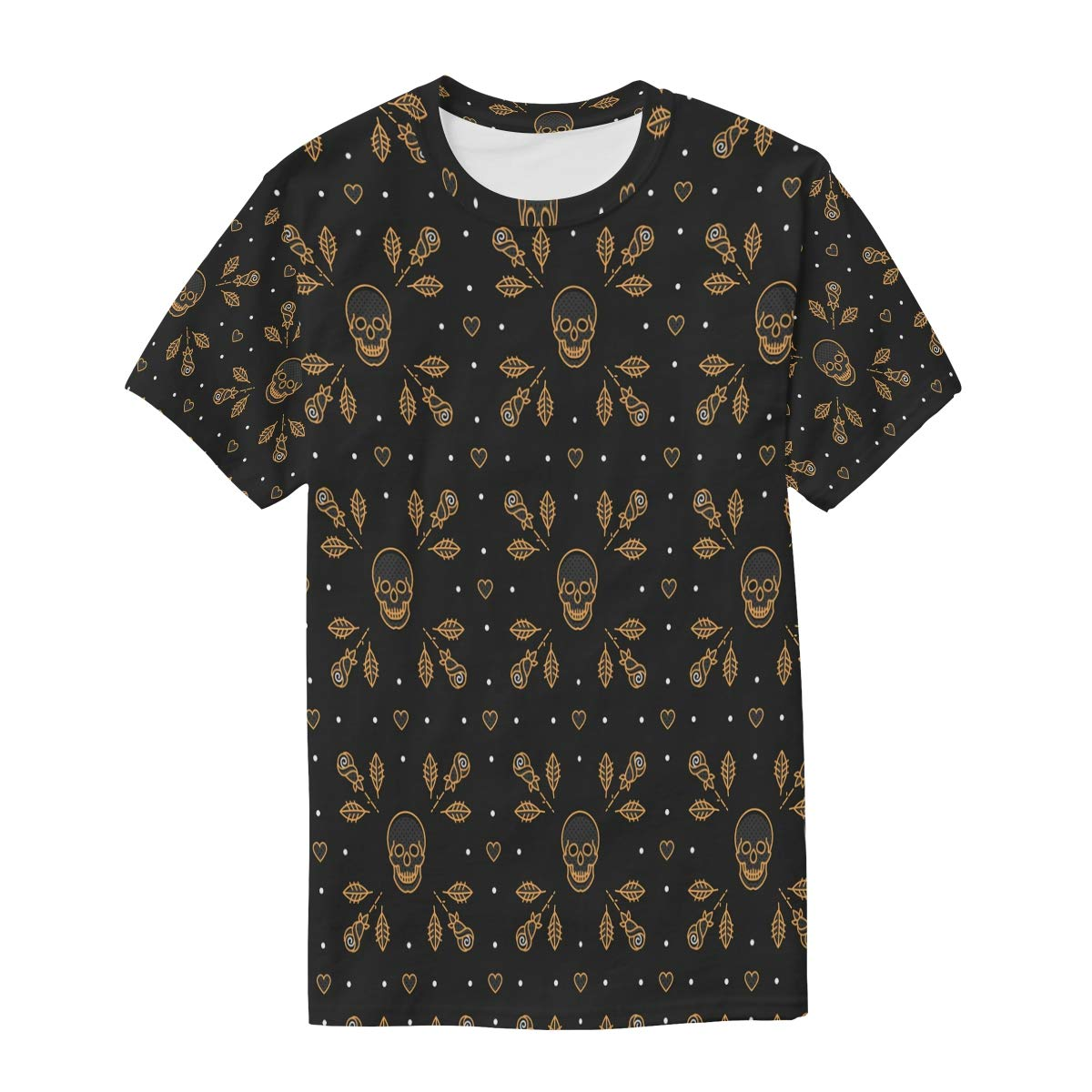 Horatiood Huberyyd Fashion Rose Gold Skull Mens T Shirts Graphic Funny Body Print Short T-Shirt Unisex Pullover Blouse