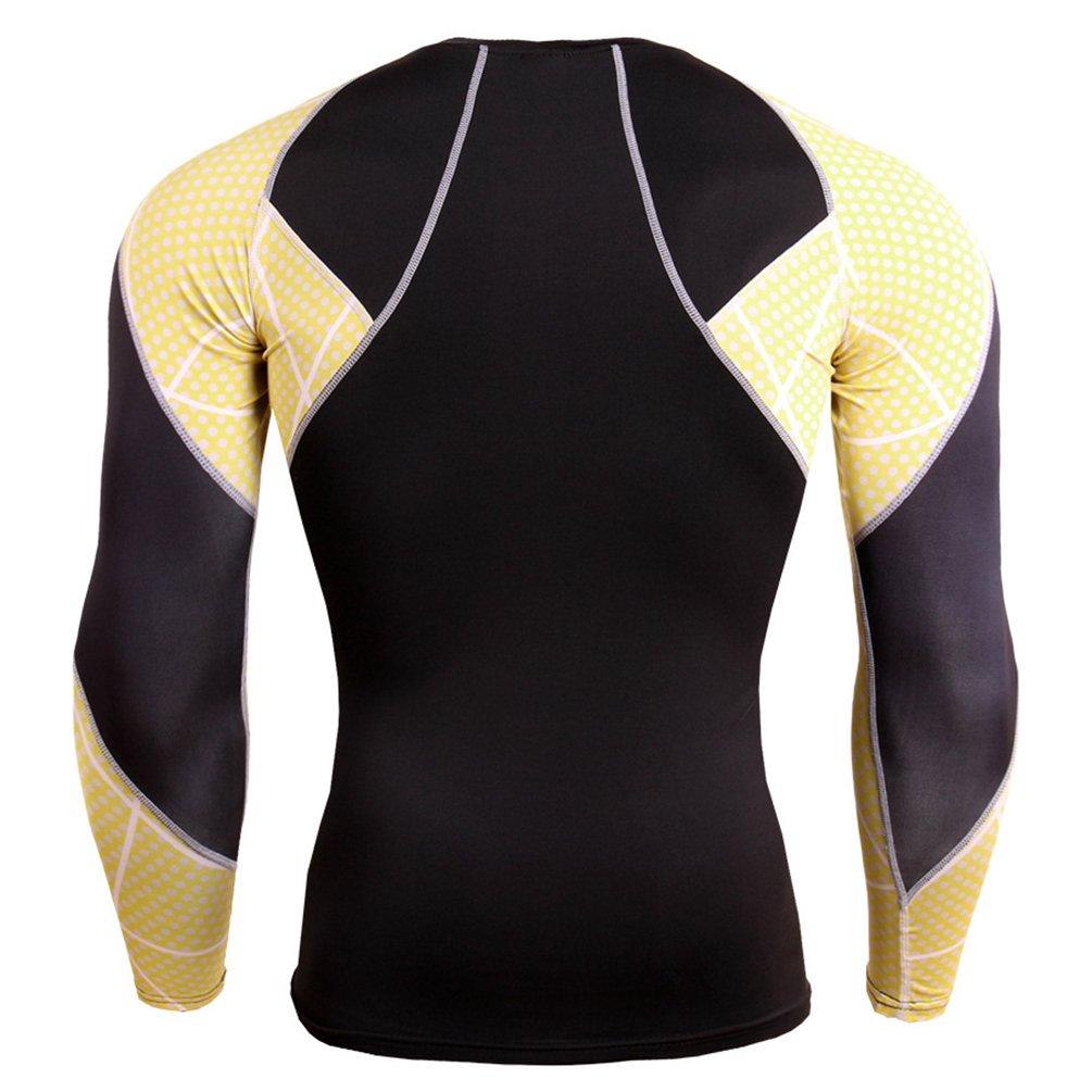 YiJee Homme Manches Longues /élasticit/é Compression Tops S/échage Rapide Aptitude Sports T-Shirt