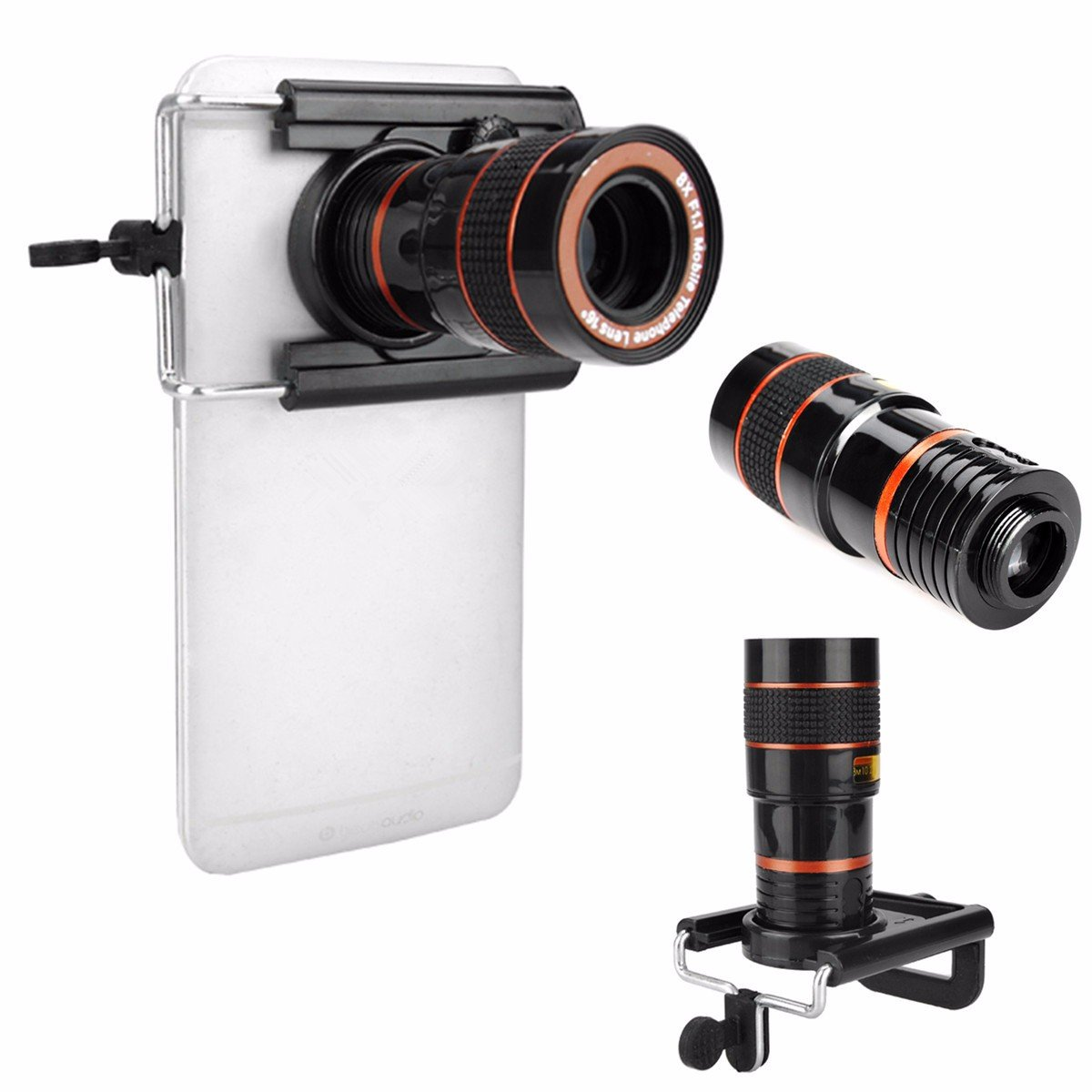 Universal Telephoto Lens Cell Phone Telescope Mway Hiking Concert Mobile 8x Optical Zoom With Clamp Black Camera Holder For Middle