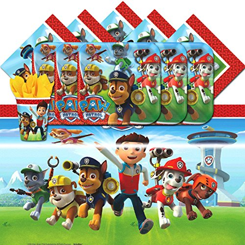 amscan Paw Patrol Puppy Pet Children Birthday Complete Party Tableware Pack for 16 -