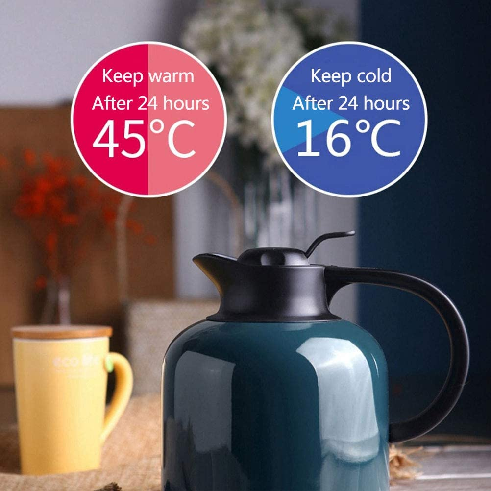 1.8 Liter//61 oz 304 Stainless Steel Thermal Carafe Coffee Jug for Coffee Tea Hot and Cold Drinks,1.8L Thermos Coffee Pot Teapot Insulated Thermos Vacuum Jug