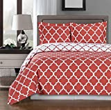 Coral and White Meridian Full / Queen 3-piece Duvet-Cover-Set, 100 % Cotton 300 TC