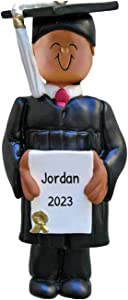 Personalized New Grad Boy Christmas Tree Ornament 2020 - African-American Teen Academic Degree Diploma End Dress Cap Class Ethnic Under-Graduation PhD High Masters Grand-Son - Free Customization
