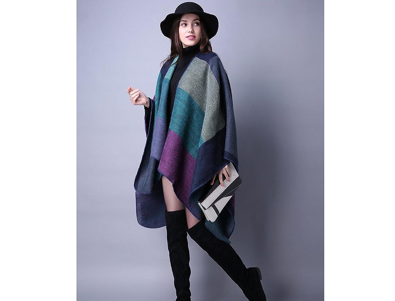 RuSong Womens Plaid Pattern Pashmina Wrap Shawl Infinity Scarf Poncho Cape Cardigans