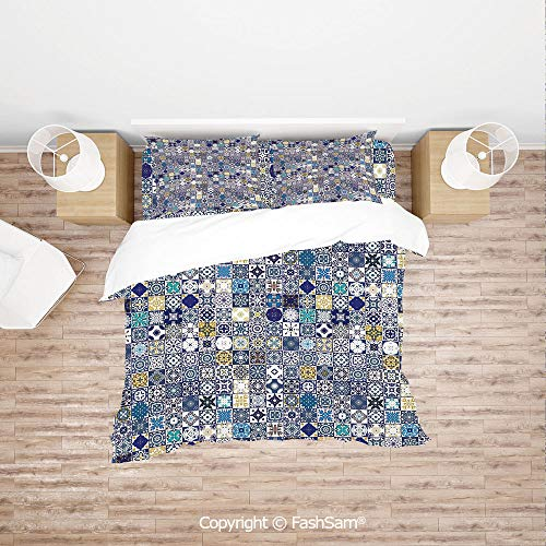 FashSam 4 Piece Bedding Sets Breathable Mediterranean Square Tile Motifs Pattern Vintage Traditional Artistic Collection Decorative for - Square 4 Rangers Piece