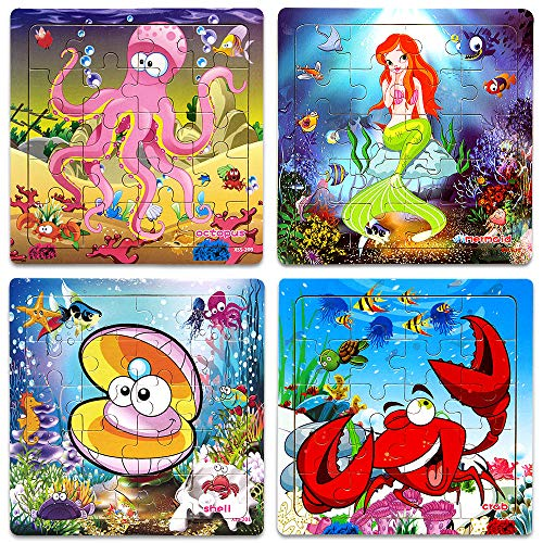 (Wooden Jigsaw Puzzles for Kids Age 2-5 Year Old Animals Preschool Puzzles for Toddler Children Learning Educational Puzzle Toys for Boys and Girls (Set of 4 Puzzles))