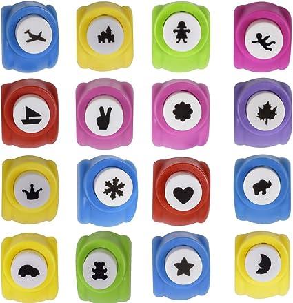 Colore casuale Punzoni di Carta,Zuzer 16pcs Stampini per Carta Goffratore 16 Forme Diverse Punzonatrice per Carta Punzoni Scrapbooking per Album di Foto Fai da Te Biglietti Decorati