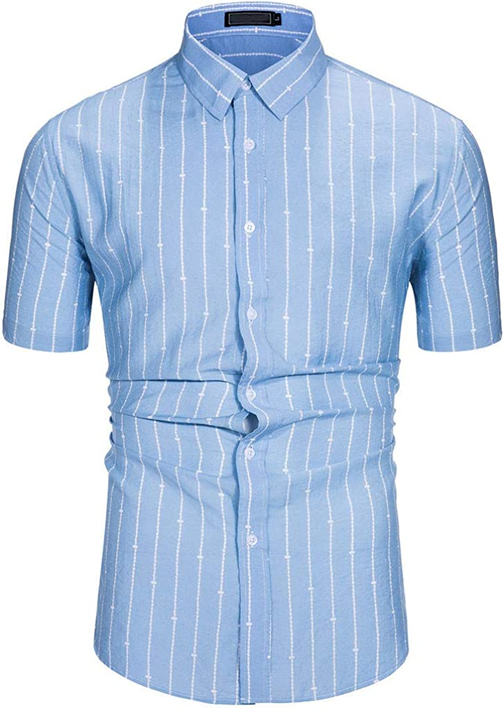 Overdose Camisas Hombre Rayas Manga Corta Slim Fit T Shirt Ibicenca De Boda Uni Color Italianas Elegantes: Amazon.es: Ropa y accesorios