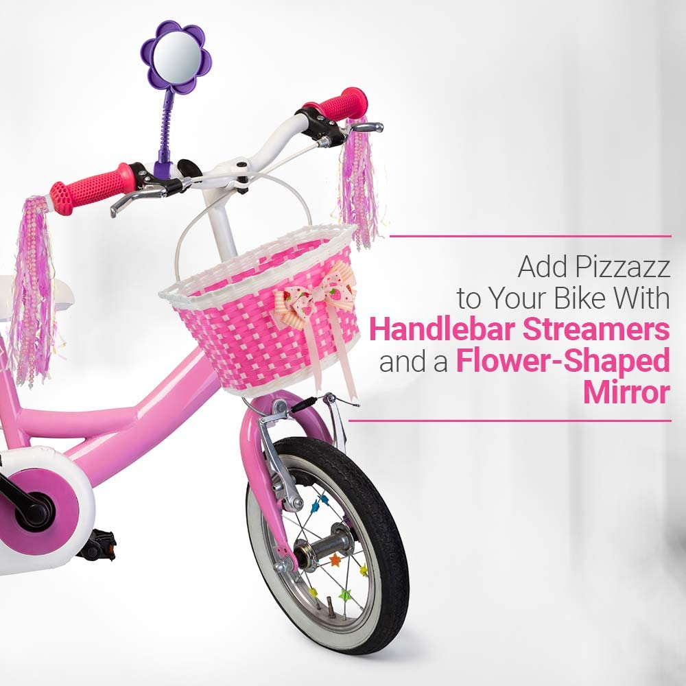 GIRLS SCOOTER BIKE STREAMERS W// HANDLEBAR GRIP COVERS /& FRONT BOWKNOT BASKET SET