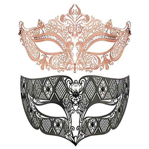 (Couple's Mardi Gras Mask Masquerade Party Mask Metal Masks Venetian Halloween Costume)