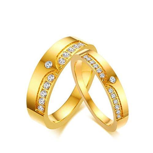 Bishilin pareja precio Anillos de Acero Inoxidable Hombres Mujeres Zirconia Corona Ancho 4/6MM Anillo