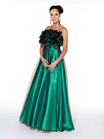 Yasmin Feathered Prom Dress Ball Gown 1022027 Emerald Green 8
