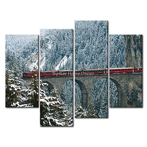 YEHO Art Gallery Painting Engadin Valley Swiss Alps Bridge With Red Train In Winter Picture Print On Canvas - Pictures Paradise Valley