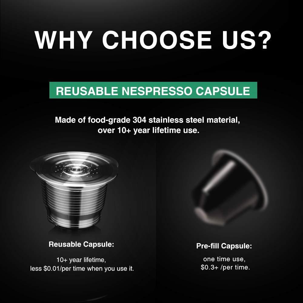 Wiederverwendbare Refill-Kapsel f/ür Nespresso,kapseln kompatibel mit Nespresso i Cafilas Wiederbef/üllbare Nespresso Kaffeekapsel aus Edelstahl zum Nachf/üllen 2 Capsules