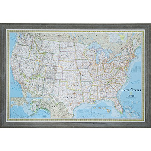Craig Frames Wayfarer, Classic United States Push Pin Travel Map, Rustic Gray Frame and Pins, 24 by 36-Inch