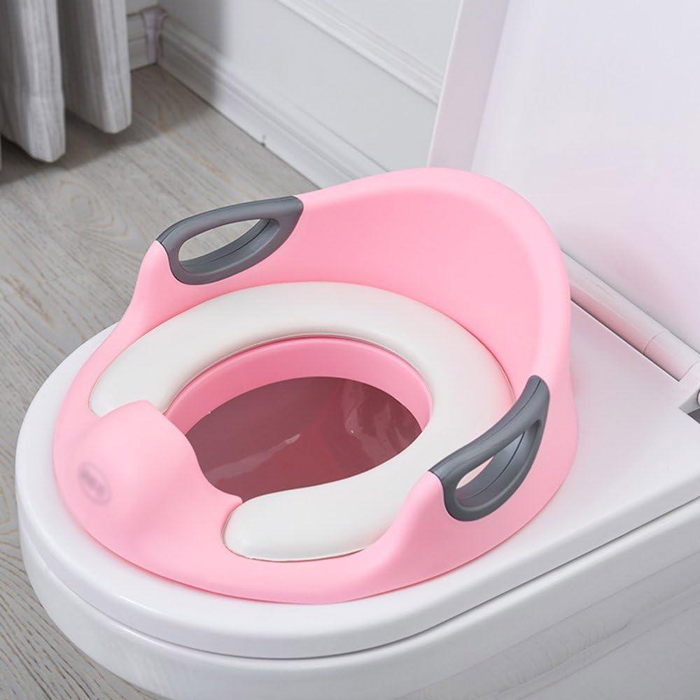 Inodoro para niños WC Escalera para Mini Inodoro con Asas Asiento de Entrenamiento de Inodoro Rosa Verde - Anillo de Entrenador niñas | Asegure el bebé Antideslizante del bebé Superficial de la