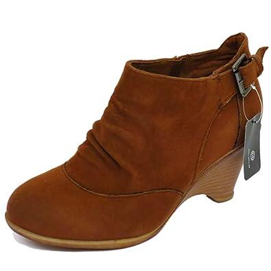 Mujer Tostado tacón bajo Tirar-en cuña Fruncido Duende Boho Botines Números 36-41 - Tostado Marrón, 8 UK / 41 EU: Amazon.es: Zapatos y complementos