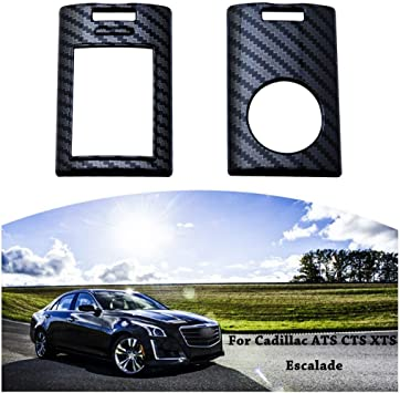iJDMTOY Glossy Black Carbon Fiber Finish Exact Fit Key Fob Shell Cover w//Keychain For Cadillac ATS CTS DTS XTS SRX STS Escalade or Chevrolet C7 Corvette etc