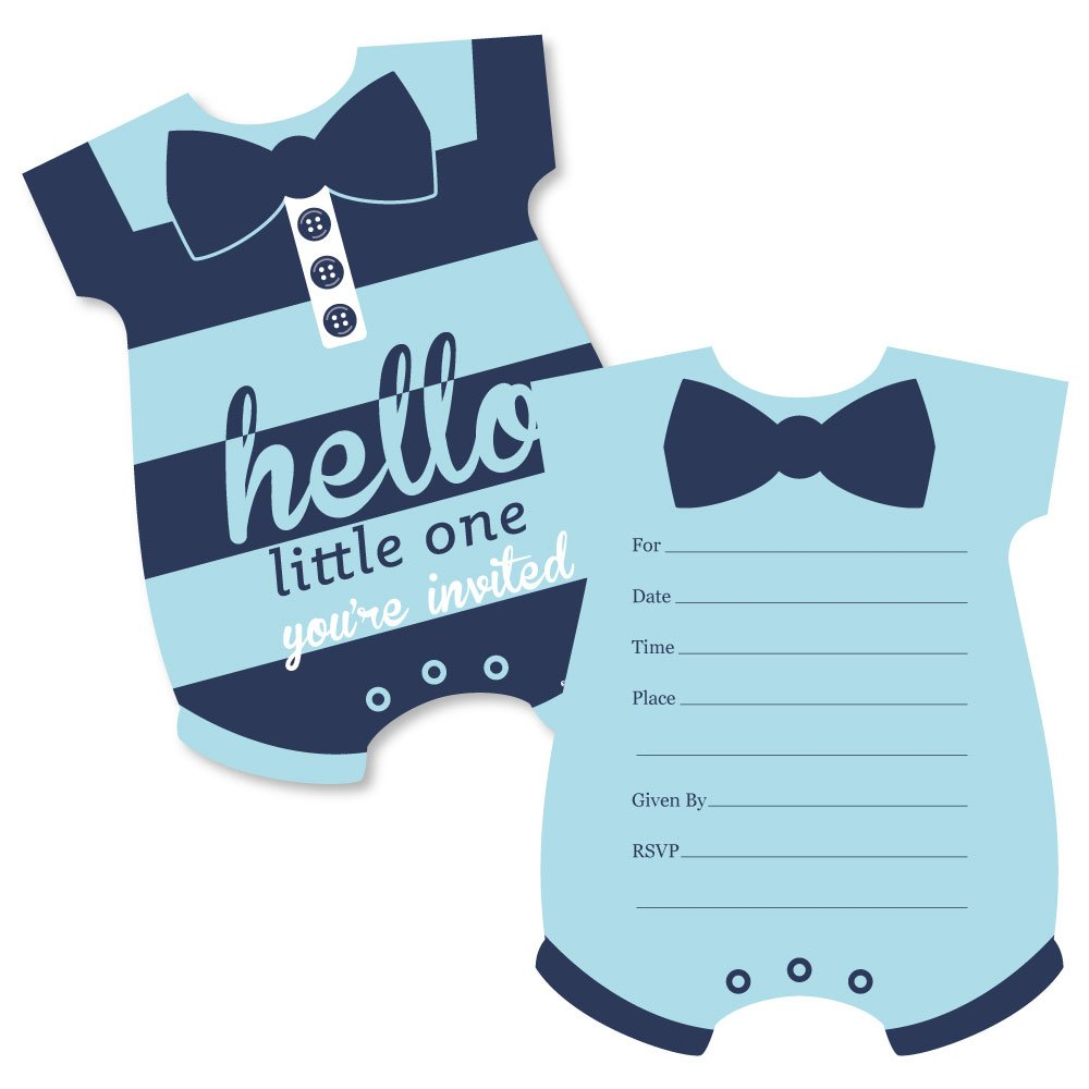 Hello Little One – Blue and Navy – Shaped Fill-in Invitations – Boy Baby Shower Invitation Cards with Envelopes – Set of 12