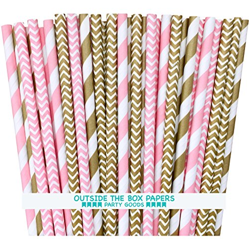 Outside the Box Papers Gold and Pink Stripe and Chevron Paper Straws 7.75 Inches 100 Pack Gold, Pink, White ()