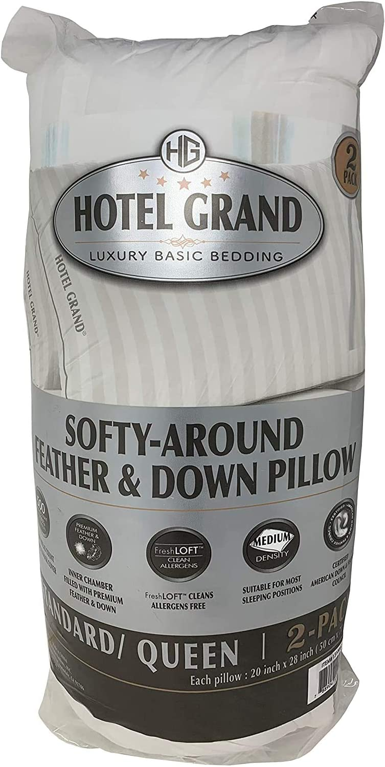 hotel grand softy around feather down pillows 500 thread queen 20x28 2 pack