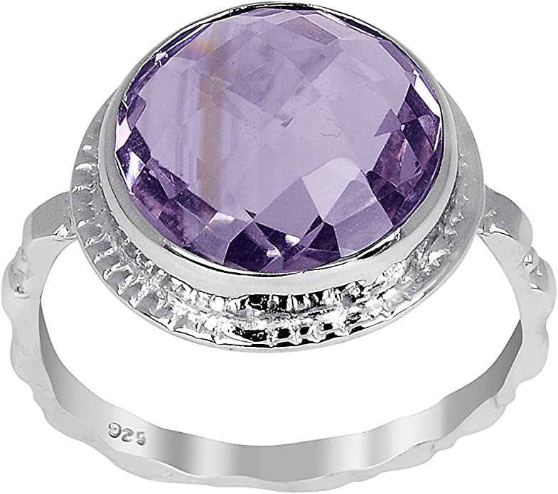 Stack-able Ring Orchid Jewelry 0.55 Carat Amethyst /& White Topaz 925 Sterling Silver Ring Handmade Purple Engagement February Birthstone