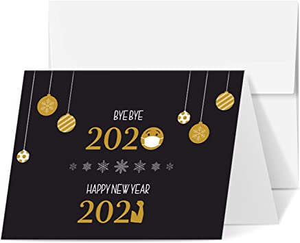 amazon com 2021 happy new year holiday greeting cards blank holiday fold over cards envelopes funny emoji cards for christmas and new year s 25 cards and 25 envelopes amazon com