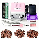 30000RPM Pro Electric Nail Drill Manicure Pedicure Acrylics Gel Salon Art Tool Set Kit with Sanding Band Accessories (Pink)