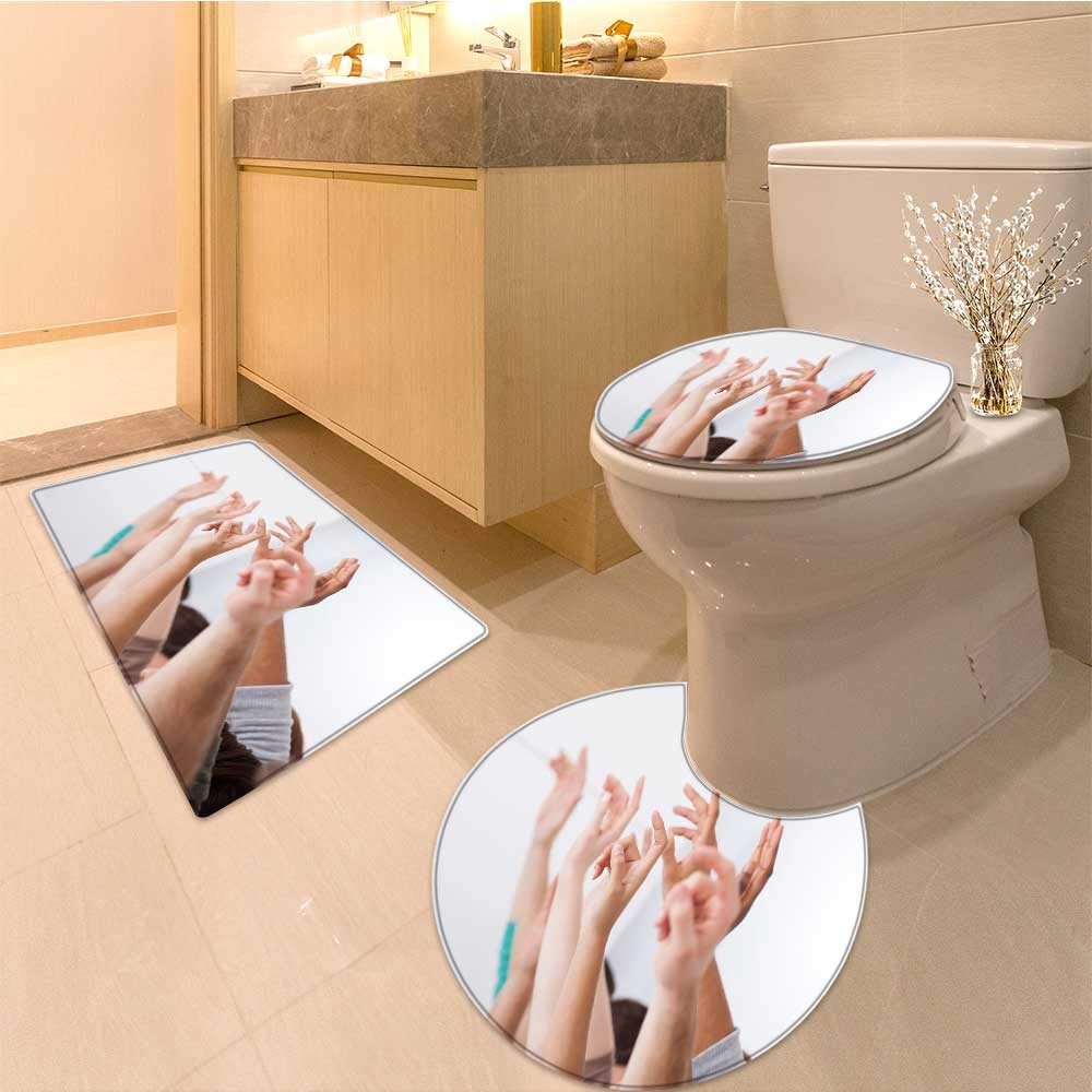 Miki Da Bathroom Non-Slip Floor Mat row of multiethnic college students raising hands in classroom Machine-Washable