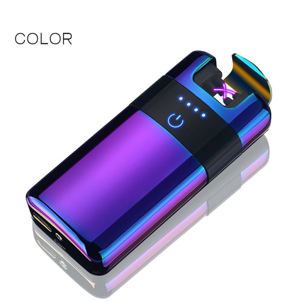 BECROWMUS Wireless Rechargeable Electronic Double Arc Plasma Lighter - Cigarette Lighter Flameless Windproof, USB Cable, Elegant Gift Box, Purple