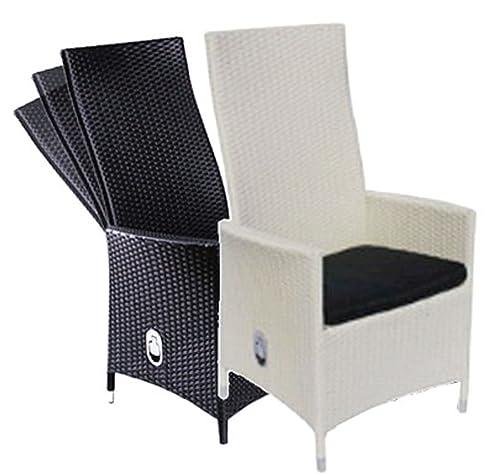 Polyrattan Sessel Rattan Hochlehner Positionsstuhl Mit Verstellbarer  Rückenlehne Ink. Sitzkissen In Schwarz Oder Weiß (