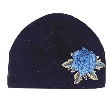 94c8ec398 Warm Knitted Cap,1 Pcs Solid Color Flower Embroidery Sequin Adult ...