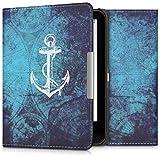kwmobile Case for Tolino Vision 1/2 / 3/4 HD - Book Style PU Leather Protective e-Reader Cover Folio Case - white blue