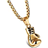 SODIAL Jewelry Men's Necklace - Chain Boxing Gloves Pendant, 55CM Adjustable - Stainless Steel - for Men and Women - Color Gold- Length 55 cm - With Gift Bag