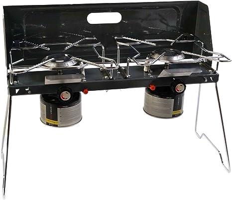 Livinxs® Cook-X Hornillo a gas plegable, con 2 quemadores