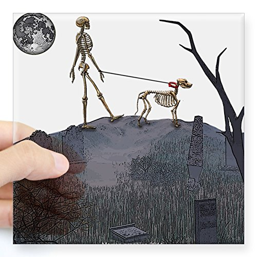 CafePress Skeleton Dog Person Square Sticker 3