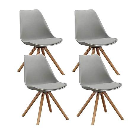 Mifi Tulpe Esszimmer Holzbeine Stuhl Eiffelturm Stuhl 4er Set Retro Design Stuhle Als Kuchenstuhl Burostuhl Lounge Stuhl Robust Und Bequem Grau