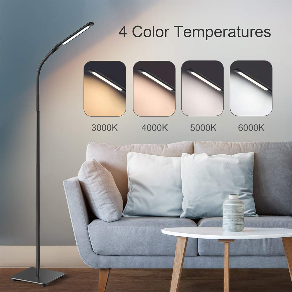 Miroco LED Floor Lamp with 4 Brightness Levels 4 Colors Temperatures, Adjustable LED Floor Light, Dimmable Adjustable Reading Standing Lamp for Sewing Living Room Bedroom Office