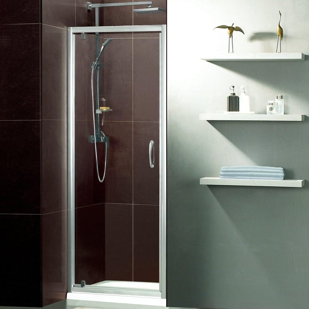 Trueshopping Mampara de ducha con puerta pivotante de vaivén con cristal de seguridad endurecido de 5 mm (alto: 185 cm) y marco satinado plateado para empotrarlo al cubículo,disponible en varios tamaños, 760