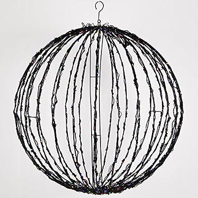 LED Light Ball – Indoor / Outdoor Christmas Light Balls, Light Spheres Outdoor / Sphere Light Fold Flat Metal Frame