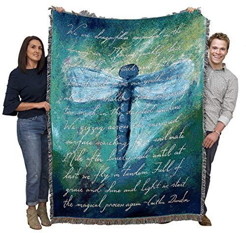 Pure Country Weavers | Dragonfly Poem Blanket | Woven Tapestry Throw Cotton with Fringe Cotton USA 72x54 from Pure Country Weavers