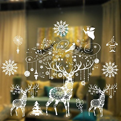 Christmas Windows Stickers Wall Stickers, 3D Reindeer Window Clings Decorations Merry Christmas Decoration Removable Wall Sticker Festive Decor Holiday Door Window Decoration